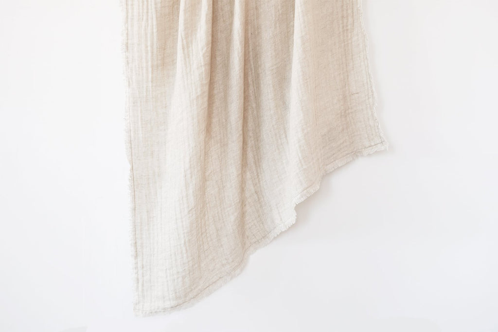 Crinkled Double Weave Linen Throw by Anaya
