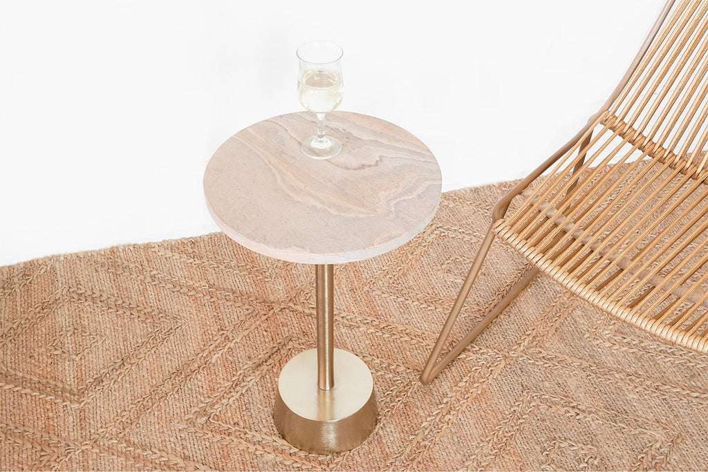 Rainbow Sandstone Gold Side Table by Anaya