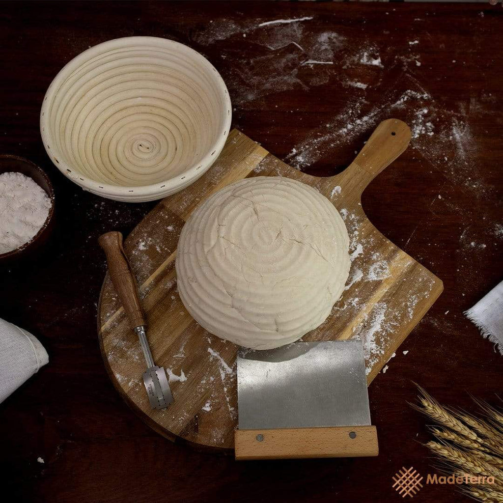 9-Inch Round Banneton Bread Proofing Baskets | With Scraper & Liner by Made Terra
