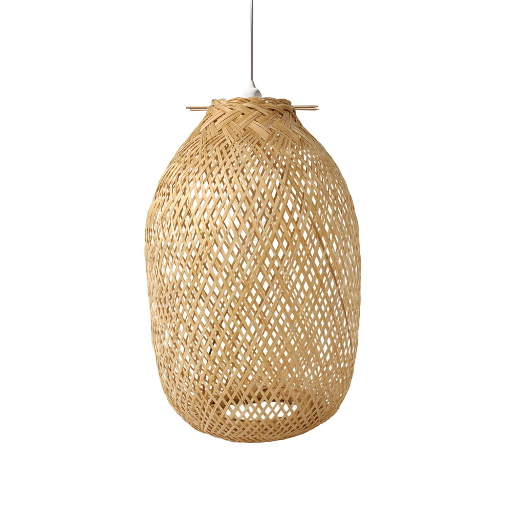 Bamboo Lamp Cage for Pendant Light | Ceiling Fan Light Bulb Cover (Cage Only) by Made Terra