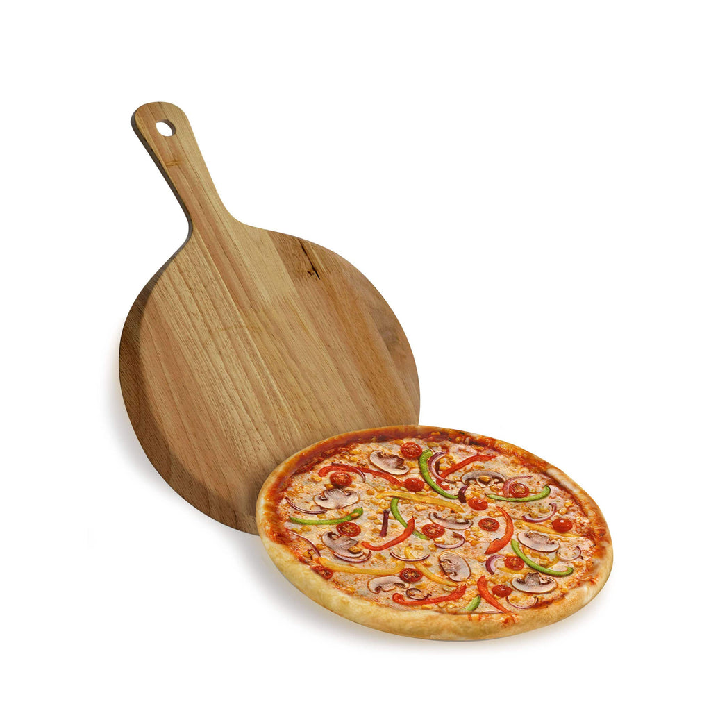 Round Acacia Wood Pizza Peel, Serving Pan with Handle for Baking, Cutting Pizza, Bread by Made Terra
