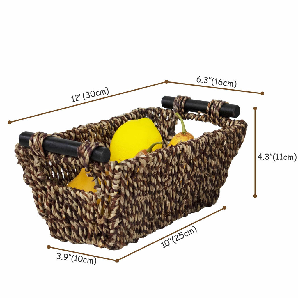 Seagrass Wicker Baskets with Wooden Handles for Bathroom, Kitchen and Home Decor by Made Terra