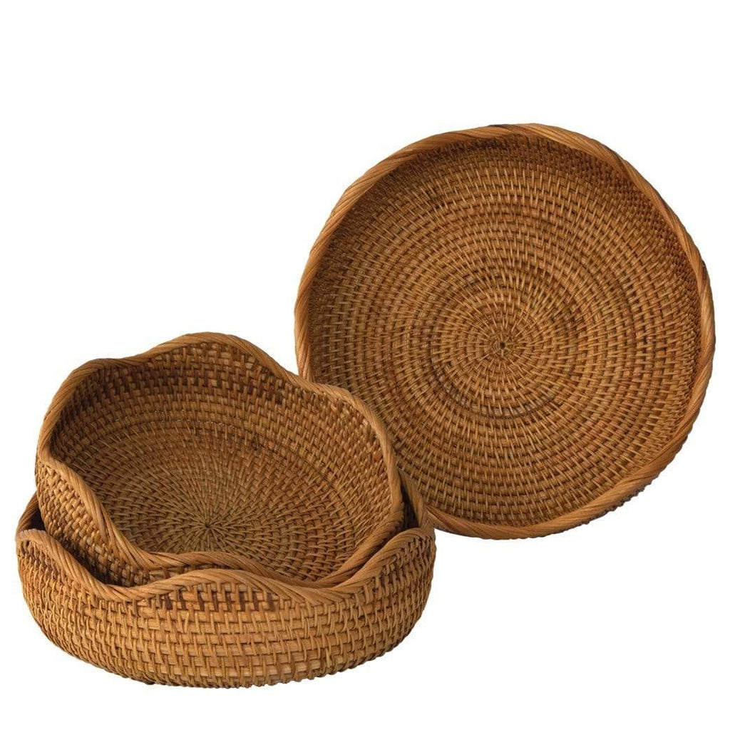 Flower-Shaped Bread Basket Bowl Set | Round Tabletop Rattan Woven Snack Serving Bowls by Made Terra