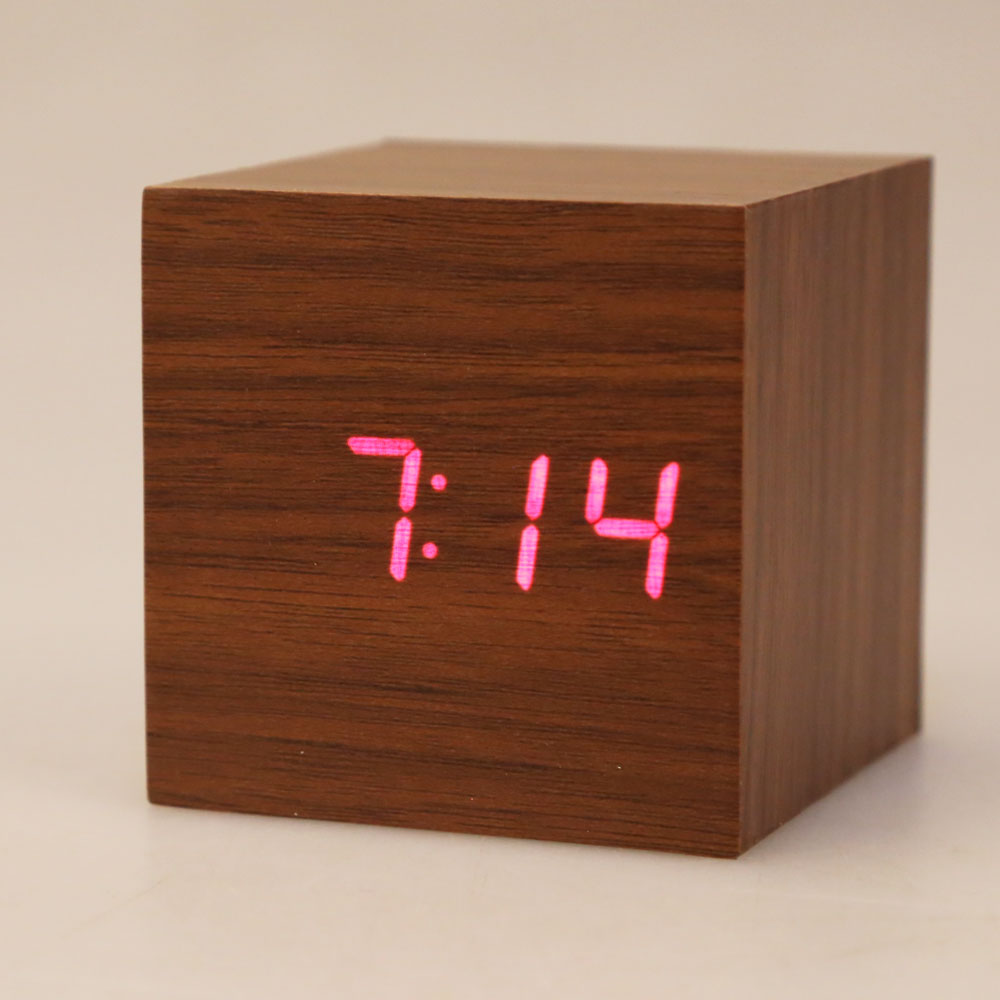 Mini LED Digital Wooden Clock