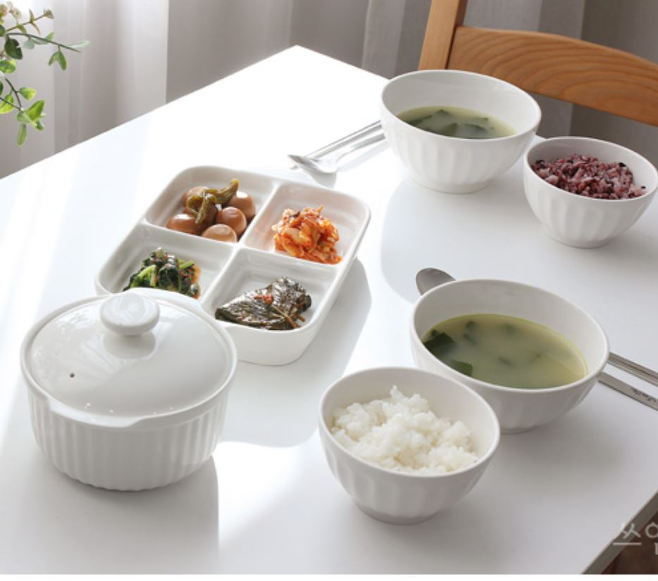 13 pc Mild White Ceramic Korean Tableware Set for 2