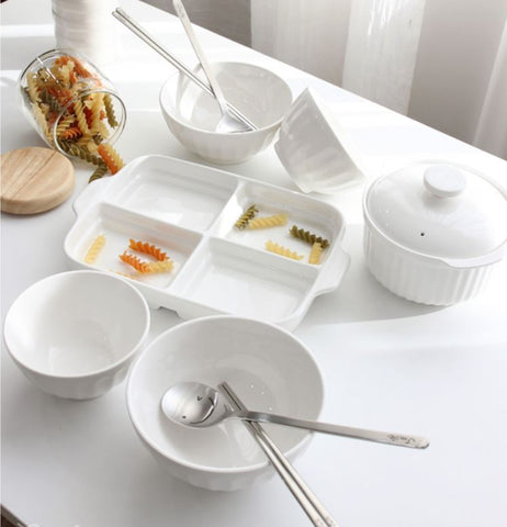 ... 13 pc Mild White Ceramic Korean Tableware Set for 2  sc 1 st  Superstore K & Modern White Pocelain Square Korean Side Dish Bowls u0026 Plate Set of 4 ...