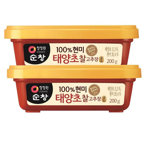 ChungJungOne Sunchang 100% Brown Rice Taeyangcho Gochujang 7oz (200g), Pack of 2