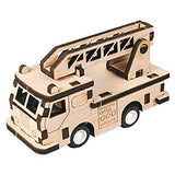 Wooden Model Kit 3D Puzzle - Fire Truck with Wind Up Wheels
