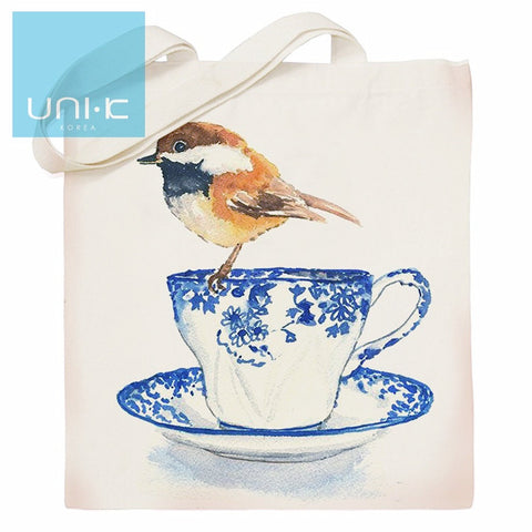100% Cotton Heavy Duty Canvas Tote Eco Bag -Bird on Tea Cup