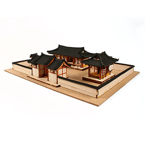 Wooden Model Kit 3D Puzzle - Hanok Korean Tile Roof House Set
