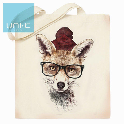 100% Cotton Heavy Duty Canvas Tote Eco Bag - Fox with Glasses