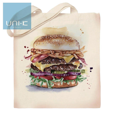 100% Cotton Heavy Duty Canvas Tote Eco Bag - Hamburger