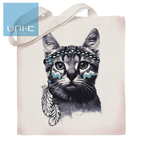 100% Cotton Heavy Duty Canvas Tote Eco Bag - Indian Cat
