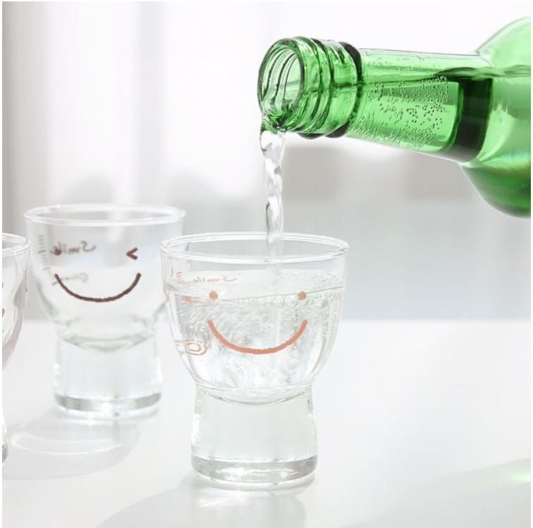 Cute Smile Face Korean Soju Shot Glass 1.7oz Set of 6