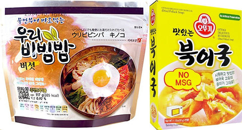 Ready to eat Bibimbap - Mushroom 100g and Ottogi Delicious Dried Pollack Soup 34g Combo