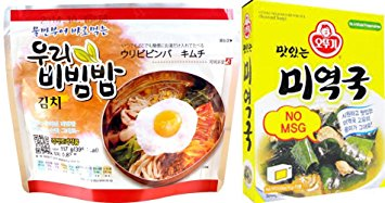 Ready to eat Bibimbap - Kimchi 100g and Ottogi Delicious Seaweed soup 18g Combo
