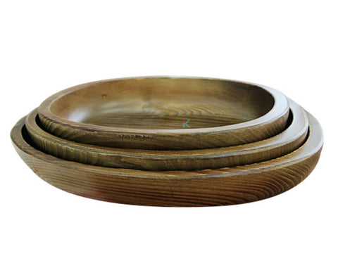 Hand Carved 100% Natural Korean Pine Wooden Bowl - Oblong 3PC Set