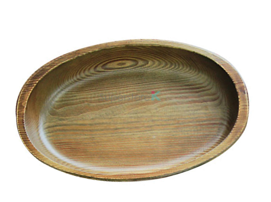 Hand Carved 100% Natural Korean Pine Wooden Bowl - Oblong (M)