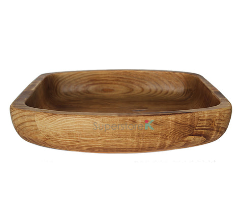 Hand Carved Natural Korean Pine Wooden Bowl Hand Carved Hamjibak - Oval Square Large