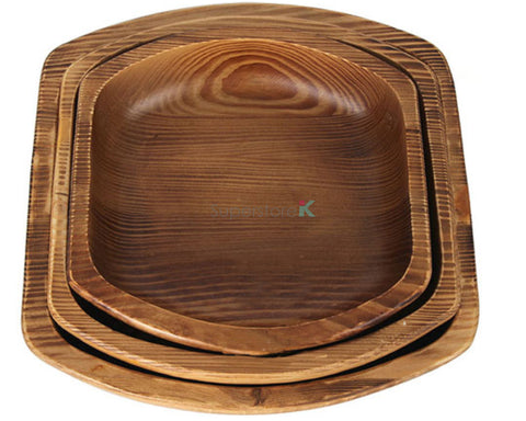 Hand Carved Natural Korean Pine Wooden Bowl - Oval Square 3PC Set