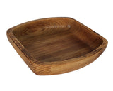 Hand Carved Natural Pine Wooden Bowl Hamjibak - Oval Square small