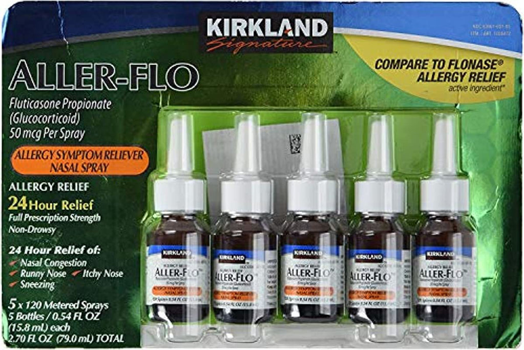 KIRKLAND SIGNATURE Aller-Flo Fluticasone Propionate (Glucorticoid) 5 Bottles x 120 Metered Sprays .54 Fl OZ per Bottle (15.84 mL x 5) 2.70 OZ Total (79.0 mL Total) 600 Total Sprays Total, 1-Pack