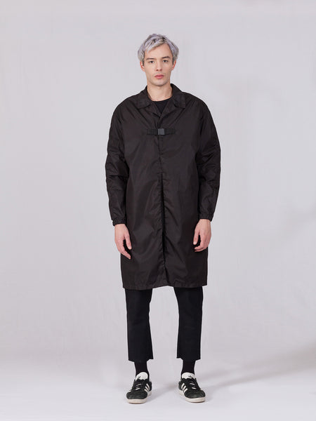 LIGHTWEIGHT NYLON TRENCH - BLACK