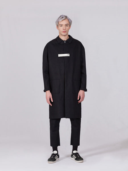 REGENERATED DENIM TRENCH - BLACK