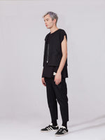 REGENERATED DENIM WAISTCOAT - BLACK