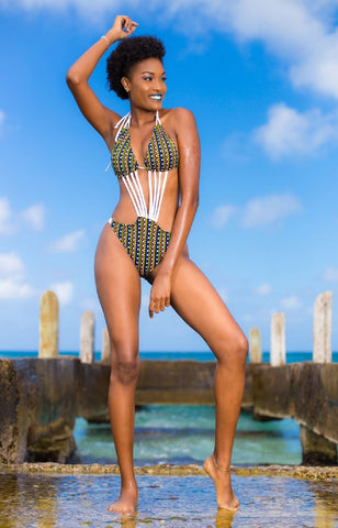 LeeAnn Designs Multi-color One Piece Swimwear with Ring Sides