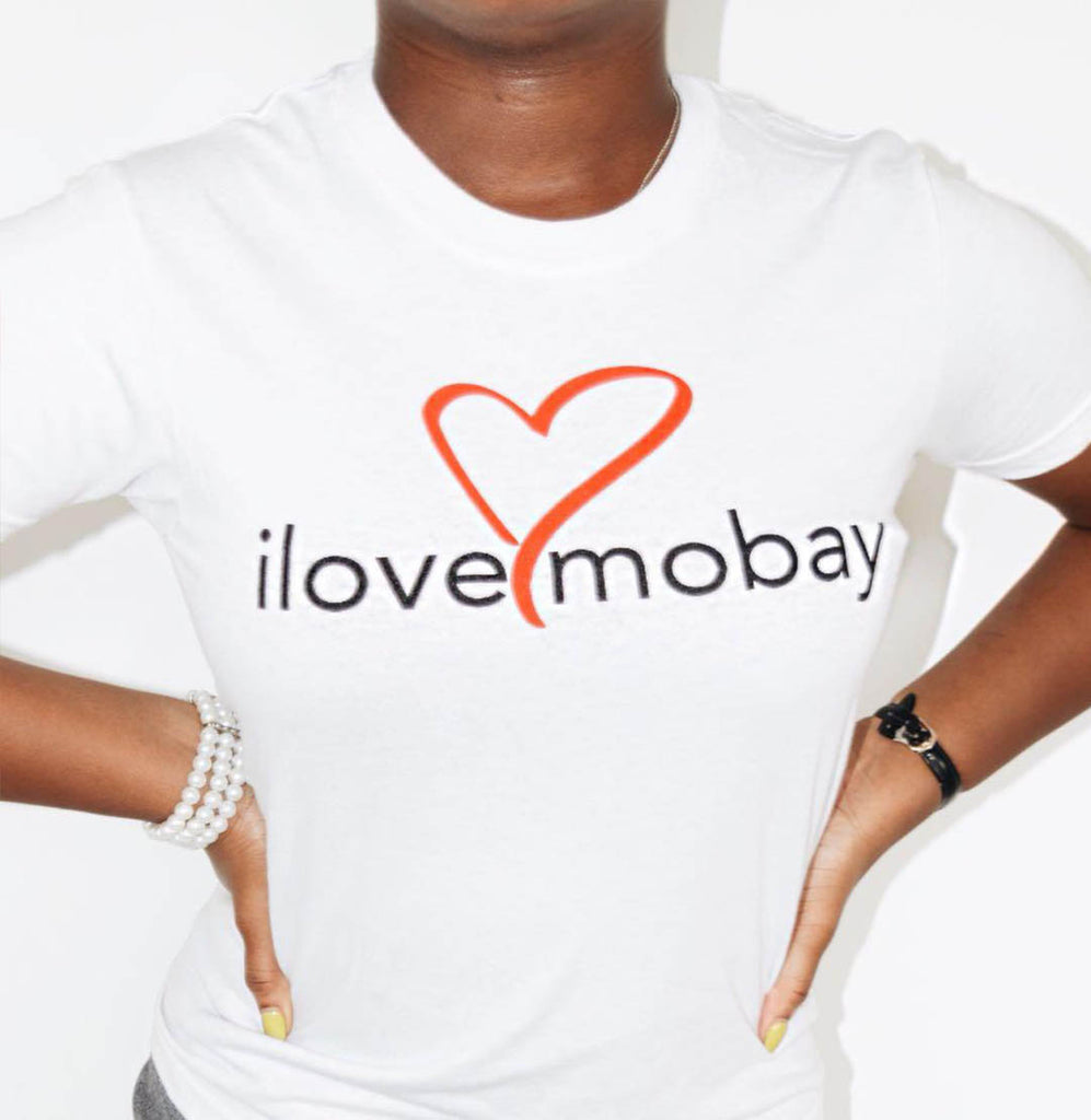 White ilovemobay cotton t-shirt