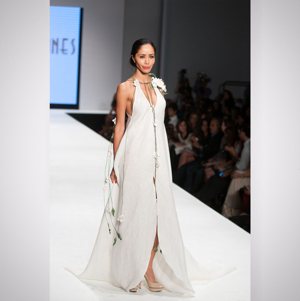 Heather Jones Hand-crafted Linen Slit Dress with Trail