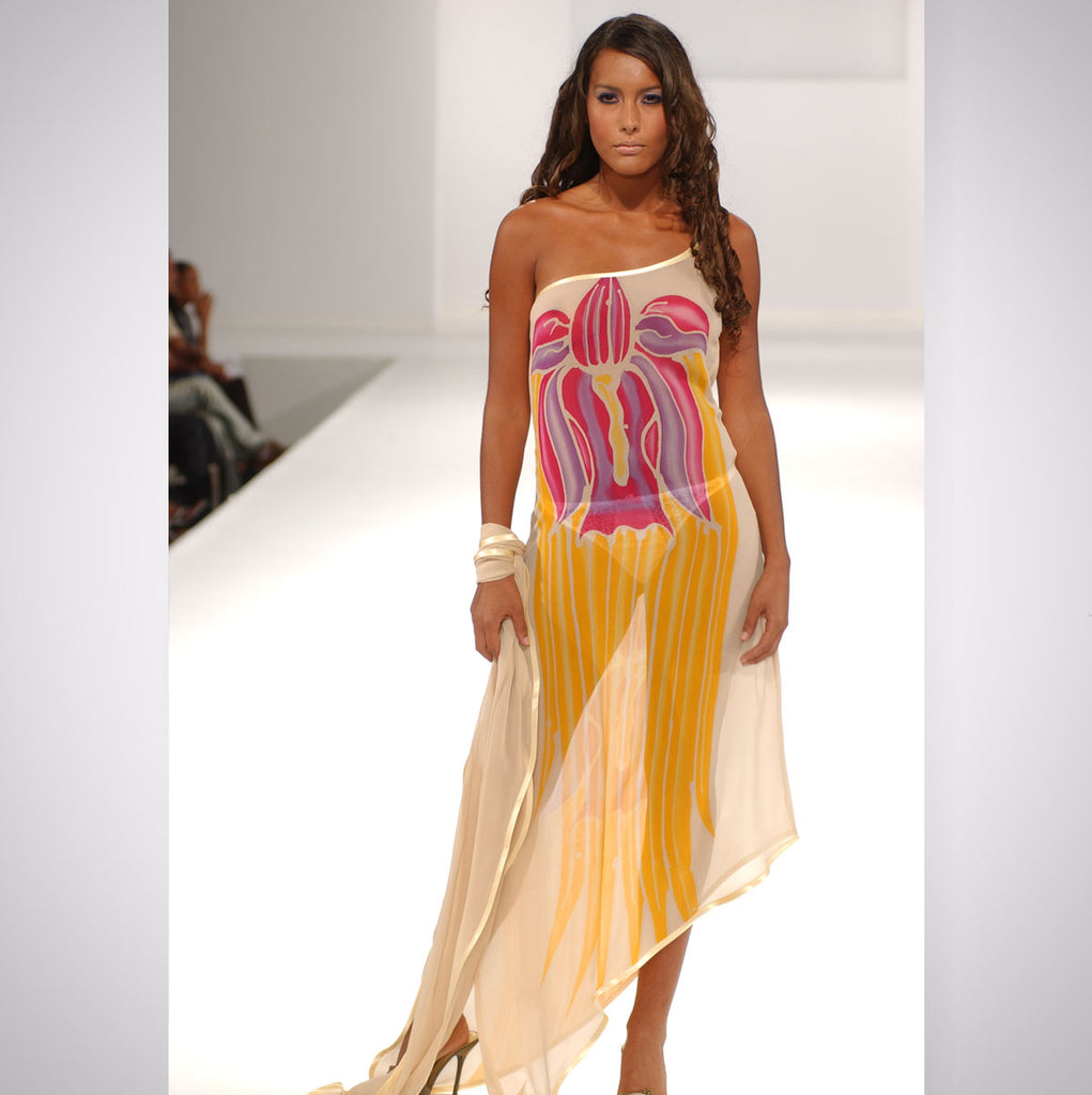 Heather Jones Hand-painted Silk Chiffon Dress with Uneven Hemline and Shawl