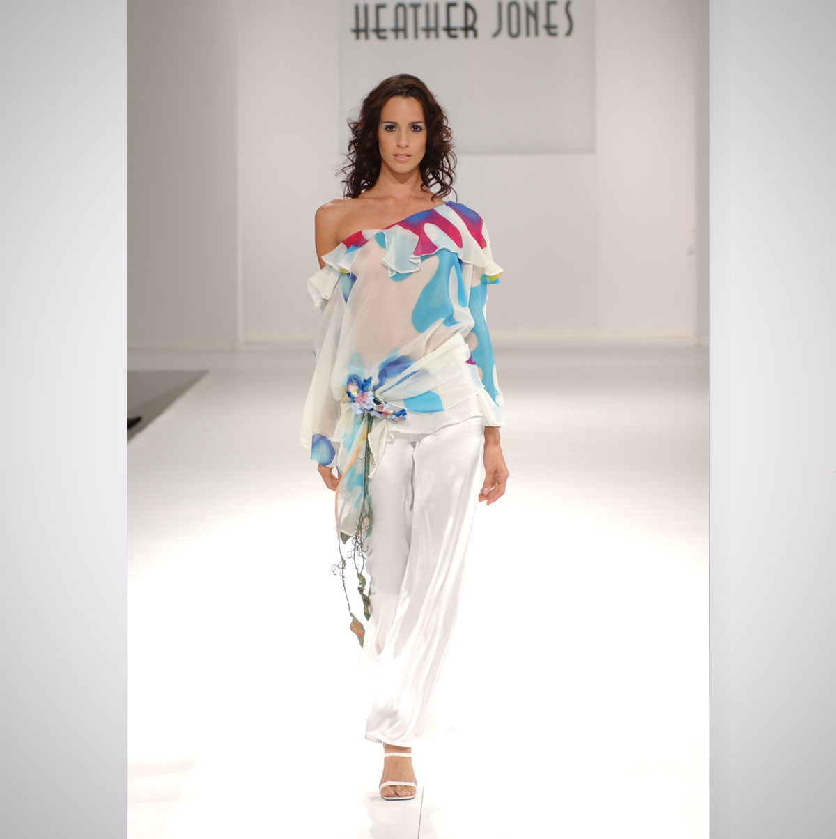Heather Jones Hand-painted Silk Chiffon Ruffle Off Shoulder Top with Silk Chamois Pants