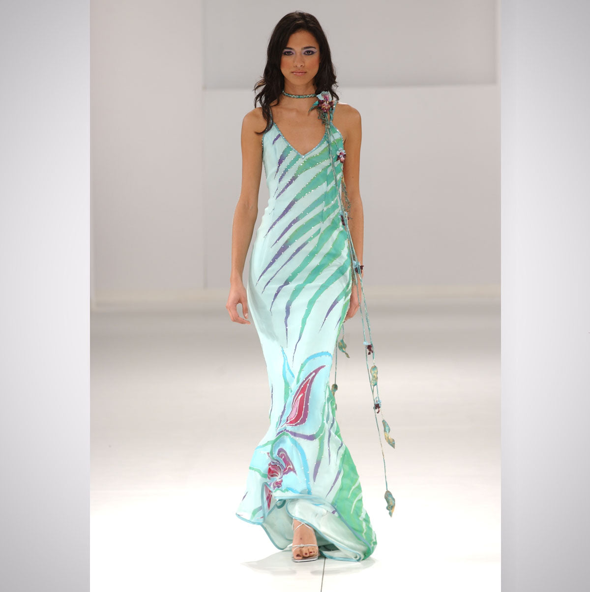 Heather Jones Hand-painted Silk Chiffon Rhinestone Jewel Dress