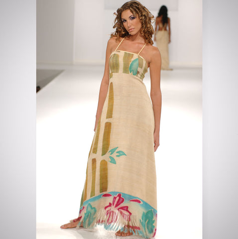 Heather Jones Hand-painted Silk Burlap Dress