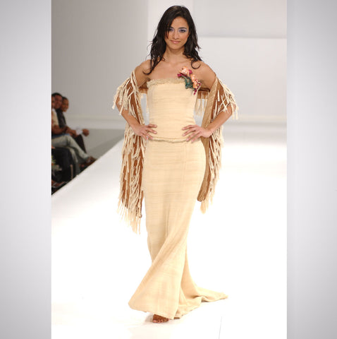 Heather Jones Gore Skirt Bustier Top with Hand-crafted Leather Jewel and Fringe Shawl