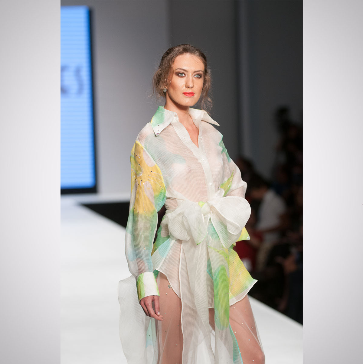 Heather Jones Hand-painted Silk Organza Shirt and Jewel Sheer Pants