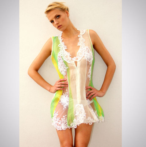 Heather Jones Hand-painted Silk Organza Lace Dress