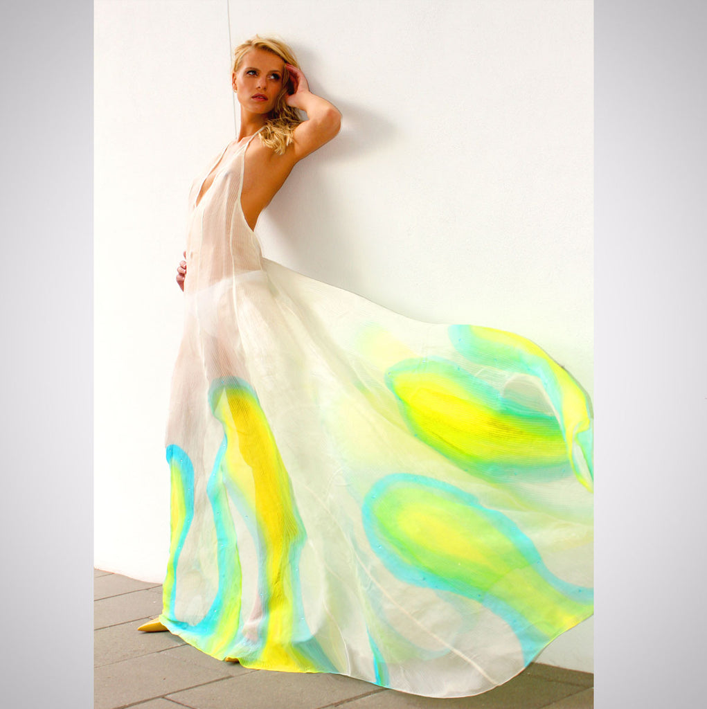 Heather Jones Hand-painted Silk Organza Halter Dress