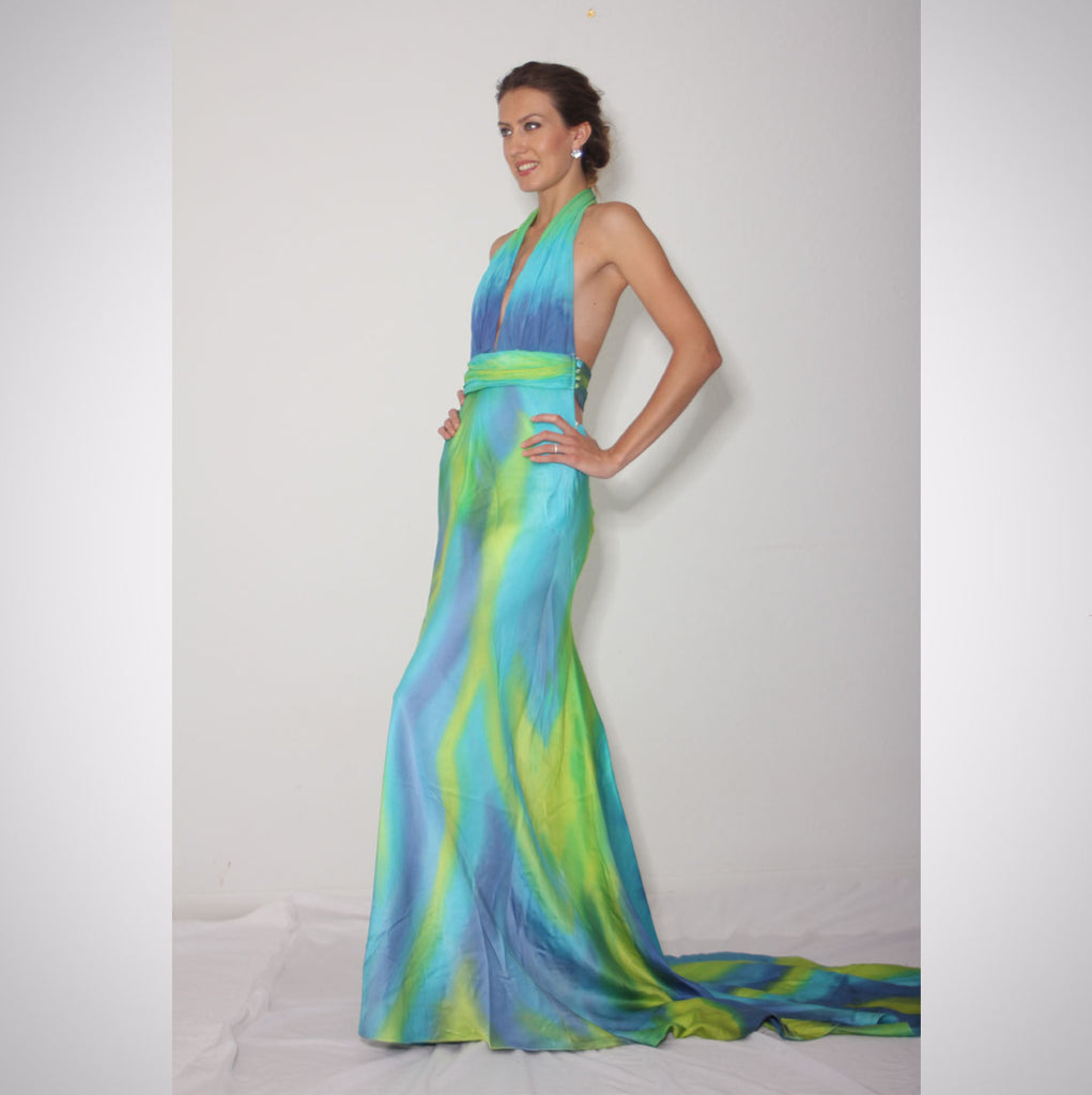 Heather Jones Hand-painted Silk Chamois Halter Dress