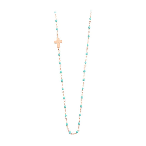 classic side cross necklace lagoon (18k RG) 16.5""