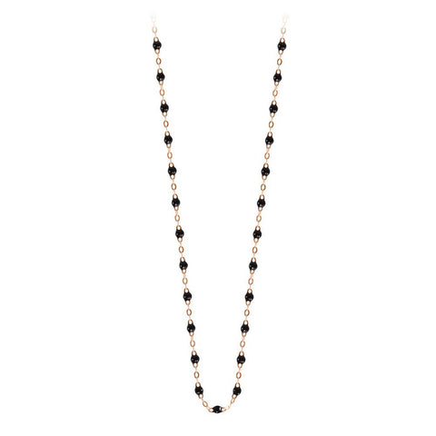 classic gigi necklace black (18k RG) 17.7""