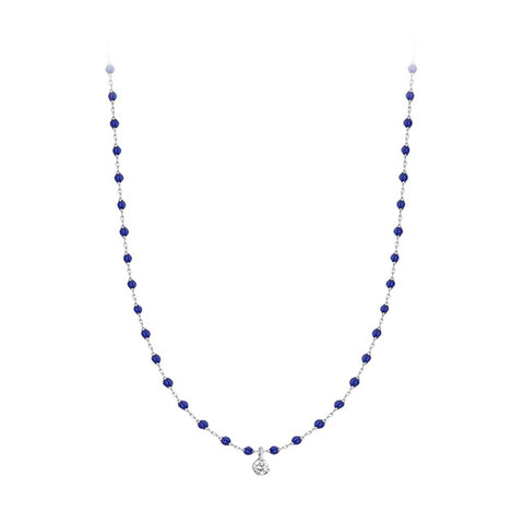 mini gigi necklace 1 diamond 0.04kt lapis (18k WG) 15.7""