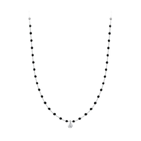 mini gigi necklace 1 diamond 0.04kt black (18k WG) 15.7""
