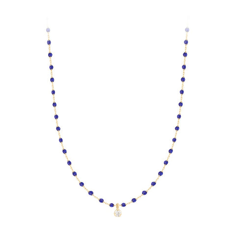 mini gigi necklace 1 diamond 0.04kt lapis (18k YG) 15.7""