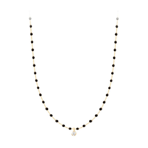 mini gigi necklace 1 diamond 0.04kt black (18k YG) 15.7""