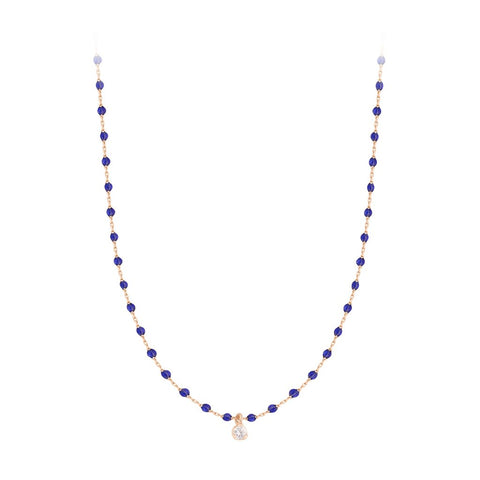 mini gigi necklace 1 diamond 0.04kt lapis (18k RG) 15.7""