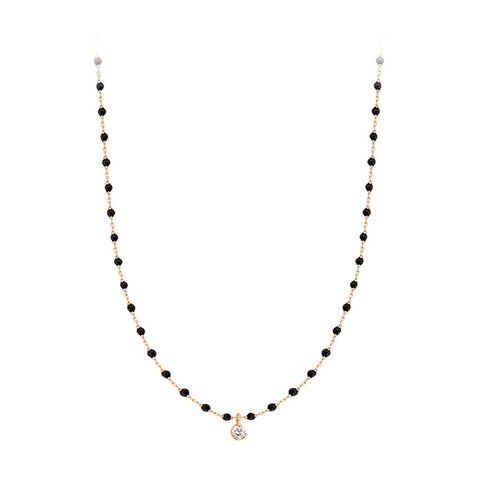 mini gigi necklace 1 diamond 0.04kt black (18k RG) 15.7""