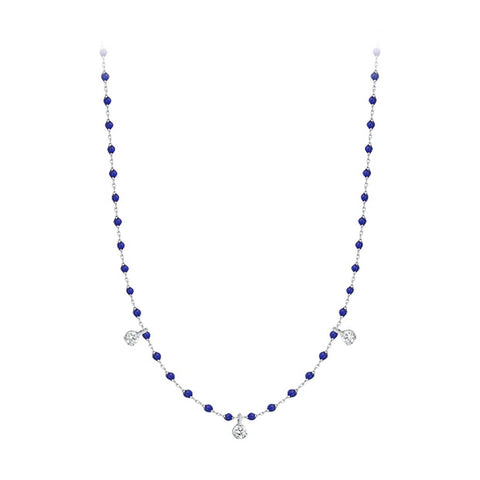 mini gigi necklace 3 diamonds 0.12kt lapis (18k WG) 16.5""